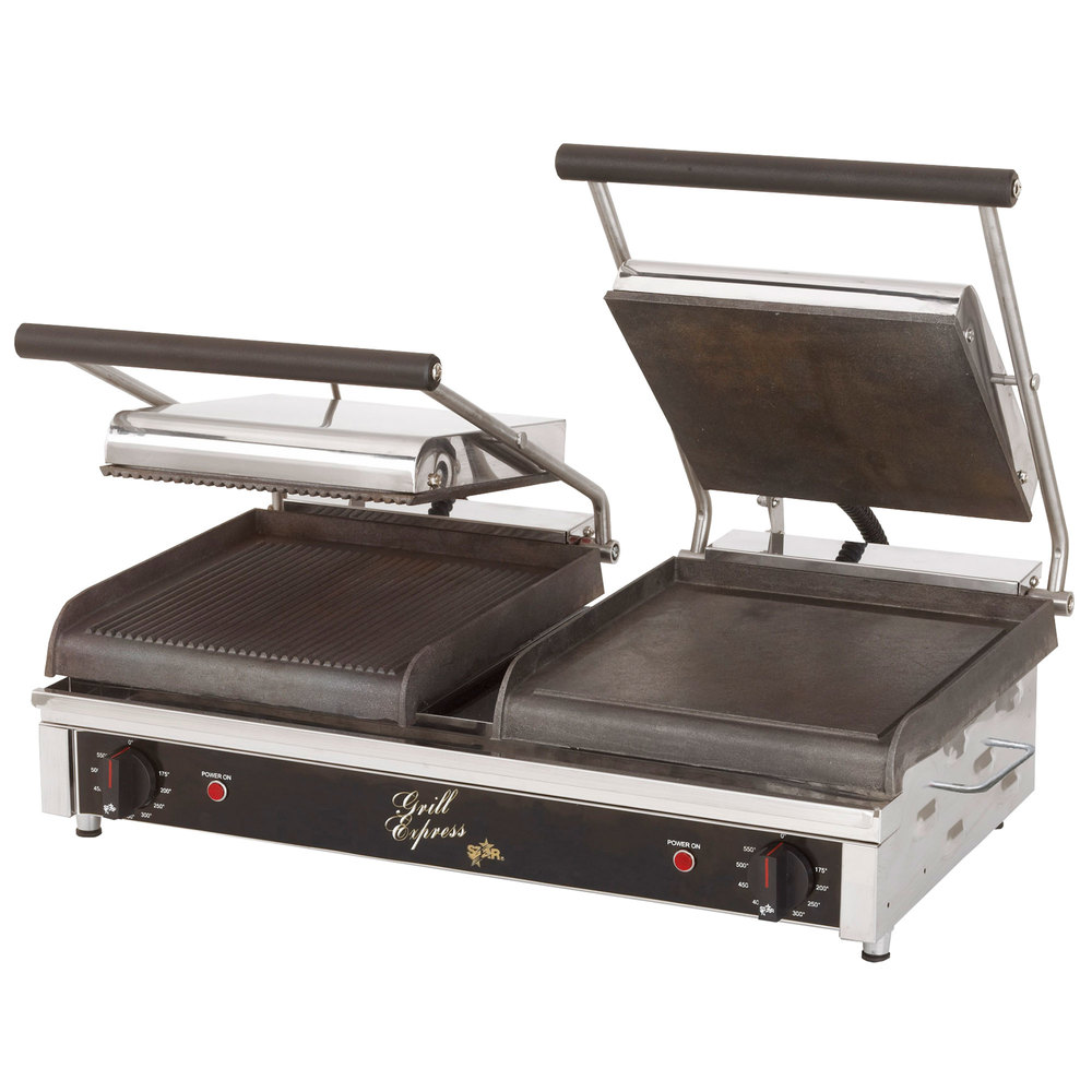 "Star GX20IG Dual 10""x 10"" Grill Express Grooved Top & Bottom Heavy Duty Panini Grill"