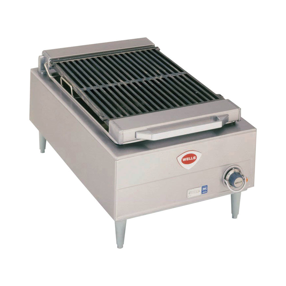"Wells B-44 20"" Stainless Steel Electric Charbroiler with One Control Knob - 5400W"