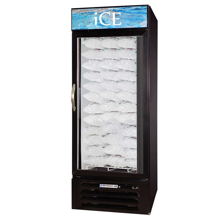 Beverage Air MMF27-B-1-ICE-LED MarketMax Black Indoor Ice Merchandiser with LED Lighting - 27 cu. ft.