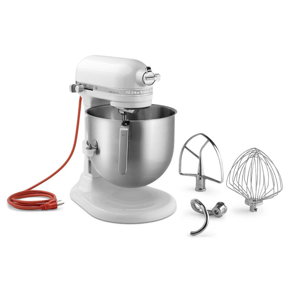 KitchenAid KSM8990WH White NSF 8 Qt. Bowl Lift Commercial Stand Mixer – 120V