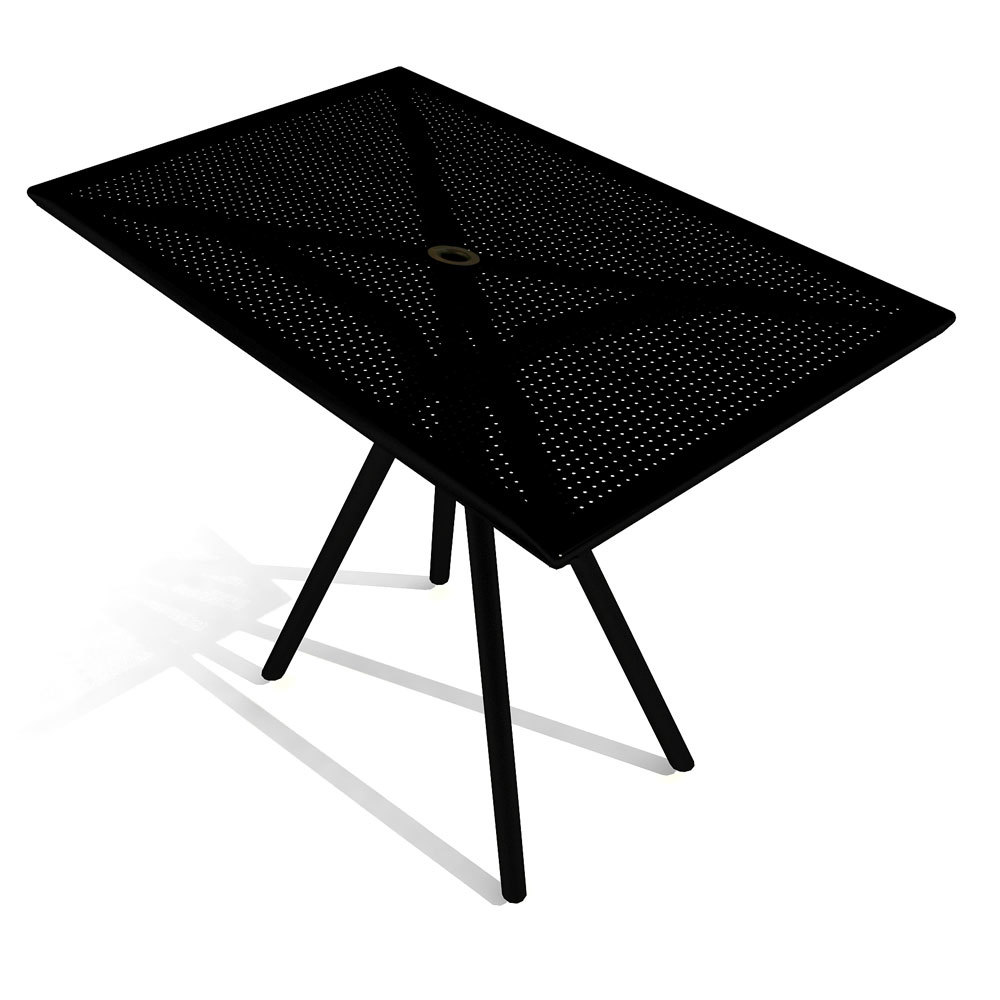 "American Tables and Seating AB3048 30"" x 48"" Black Rectangular Outdoor Table"