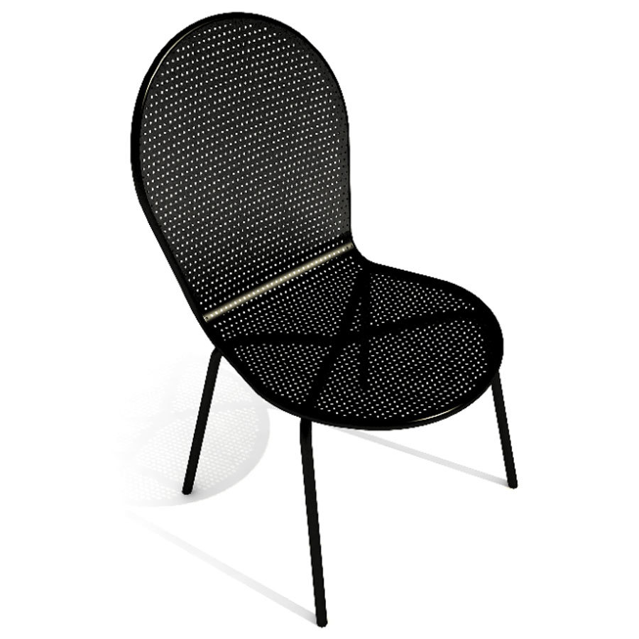 American Tables and Seating 94 Black Mesh Outdoor Chair with Rounded Seat and