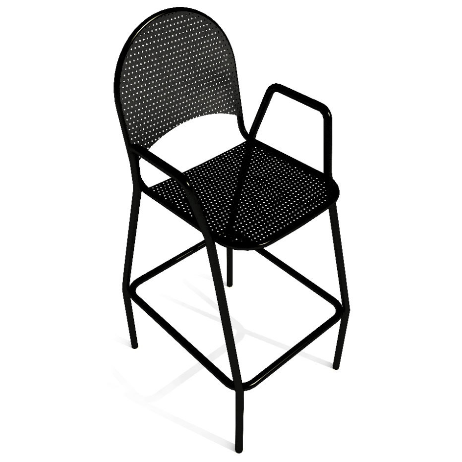 American Tables And Seating 90 Bs Black Mesh Outdoor Bar