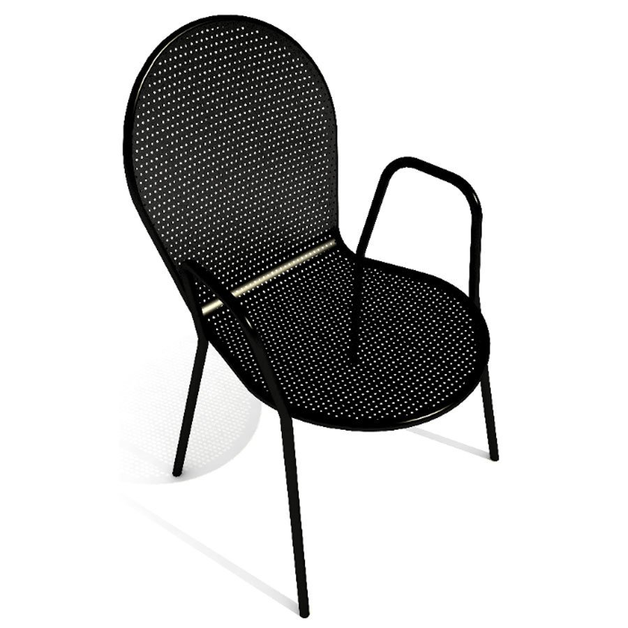 American Tables and Seating 93 Black Mesh Outdoor Chair with Arms and Rounded