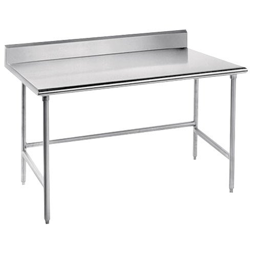 "Advance Tabco TKSS-300 30"" x 30"" 14 Gauge Open Base Stainless Steel Commercial Work Table with 5"" Backsplash"