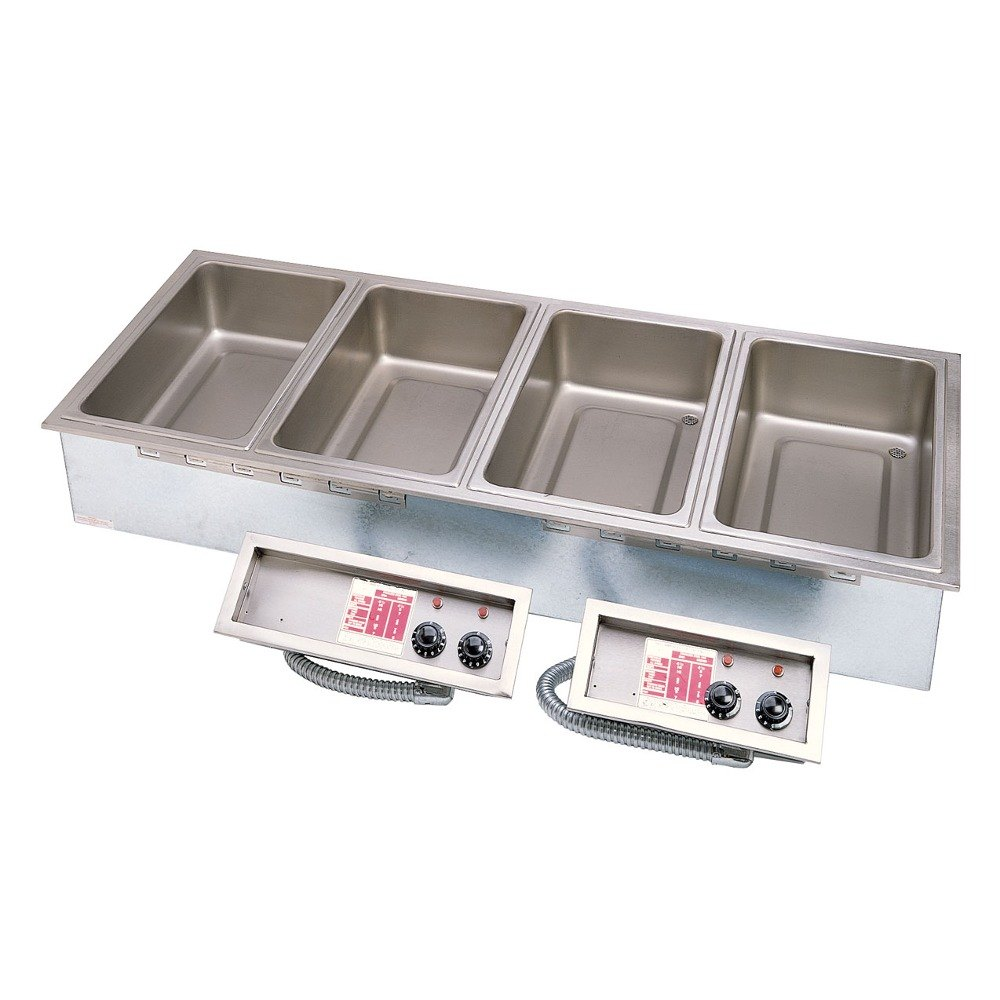 APW Wyott HFW-5DT Insulated Five Pan Drop In Hot Food Well with Thermostatic Controls and Drain