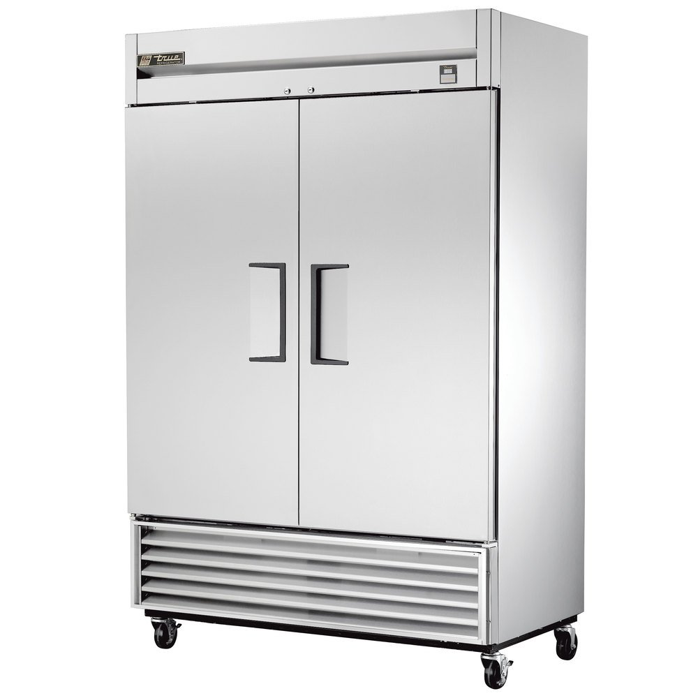 "True TS-43 47"" Stainless Steel Two Section Solid Door Reach in Refrigerator - 43 Cu. Ft. Scratch and Dent"