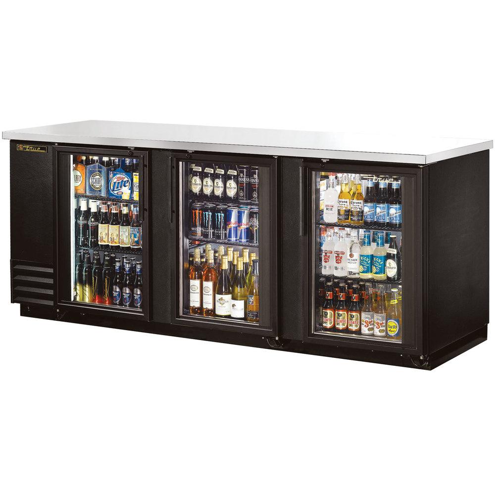 "True TBB-4G-LD 90"" Glass Door Back Bar Refrigerator With"