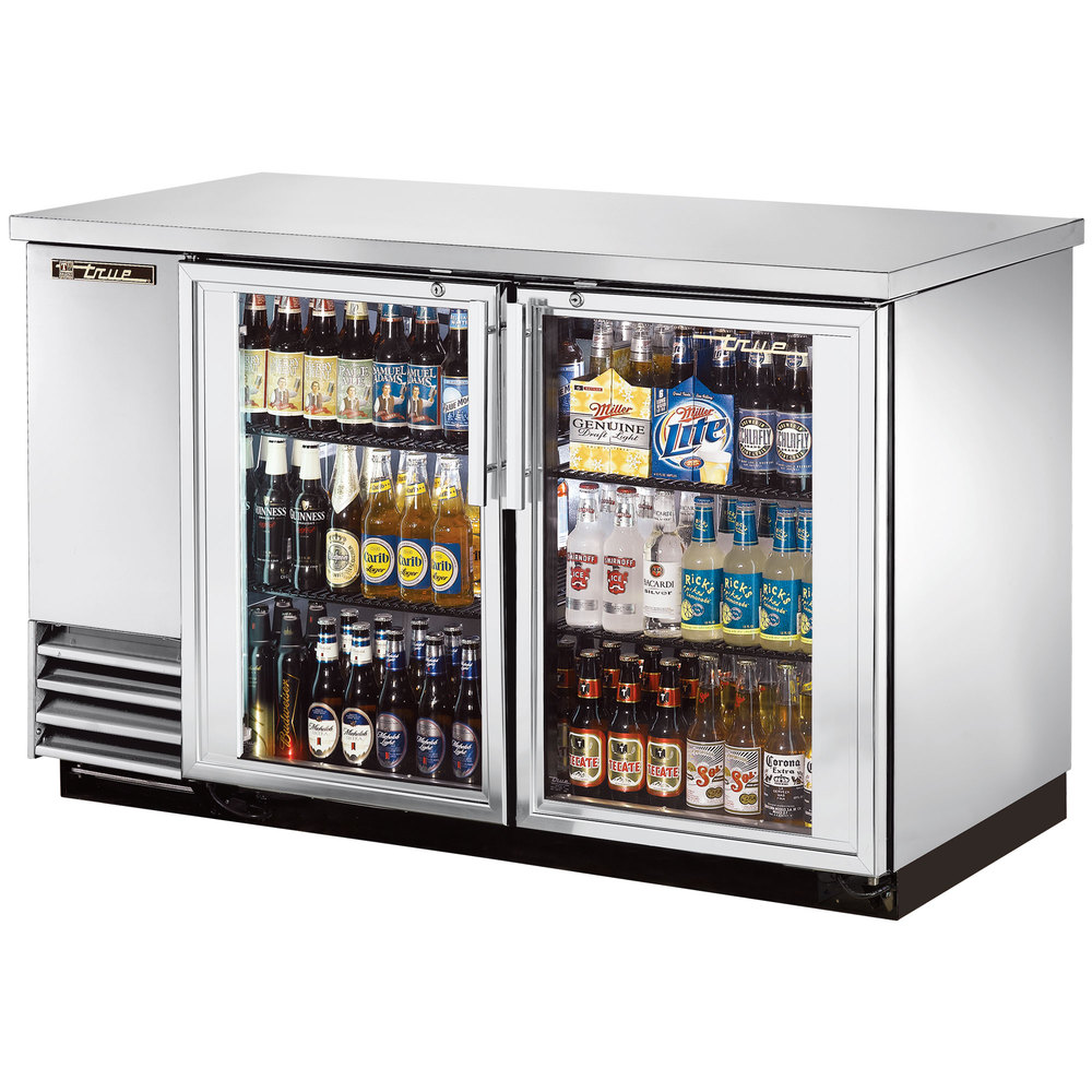 "True TBB-2G-S-LD 59"" Stainless Steel Glass Door Back Bar Refrigerator with LED Lighting"