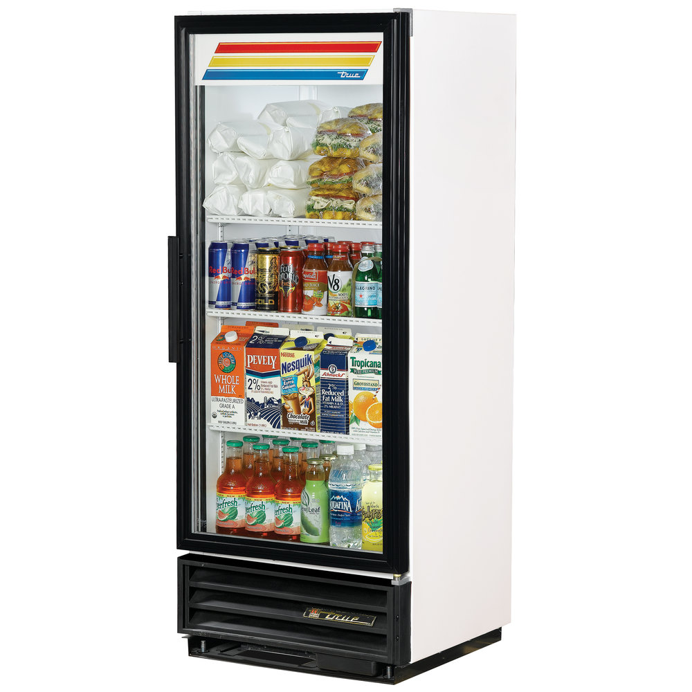 "True GDM-12F-LD White 25"" Glass Door Merchandiser Freezer with LED Lighting and White Trim - 12 Cu. Ft."