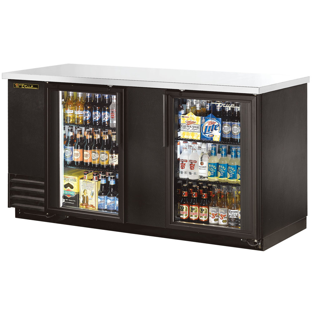 "True TBB-3G-LD 69"" Glass Door Back Bar Refrigerator with LED Lighting"