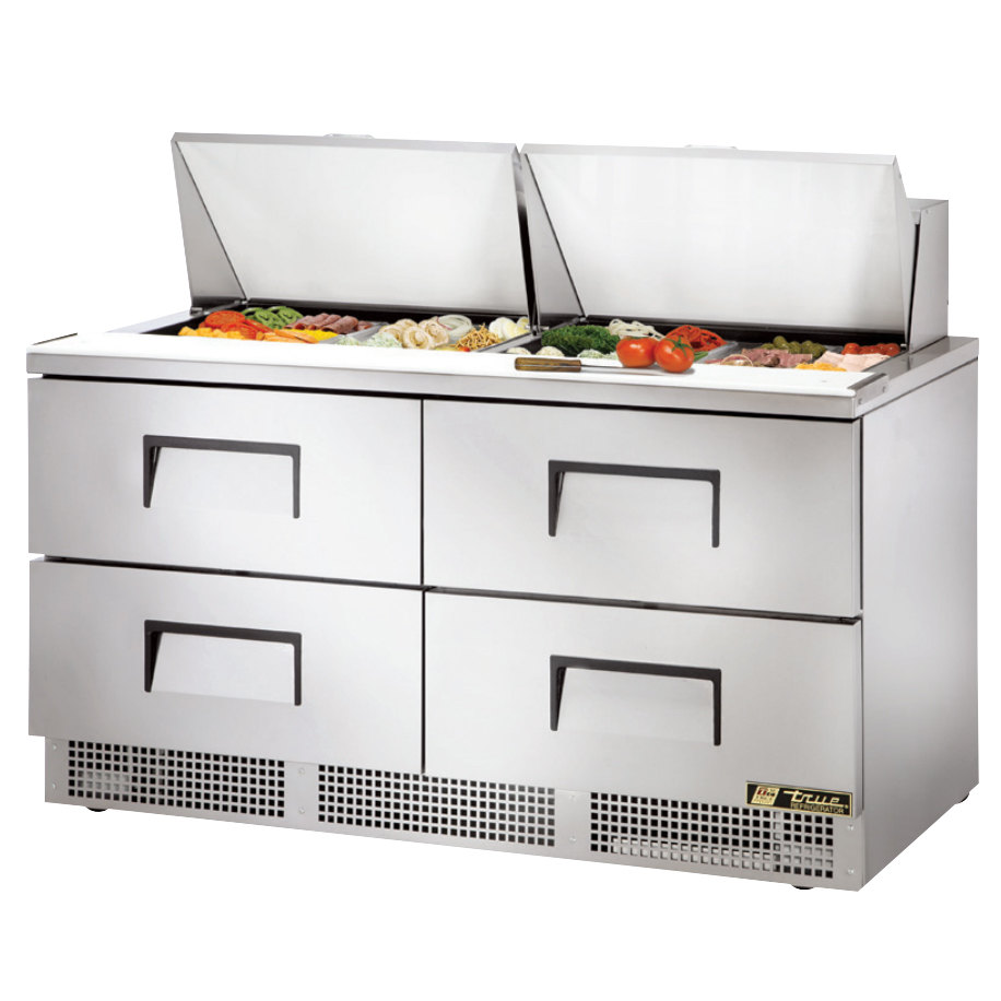 """Coffee Table With Fridge Drawer: True TFP-64-24M-D4 64"""" 4 Drawer Mega Top Refrigerated"""