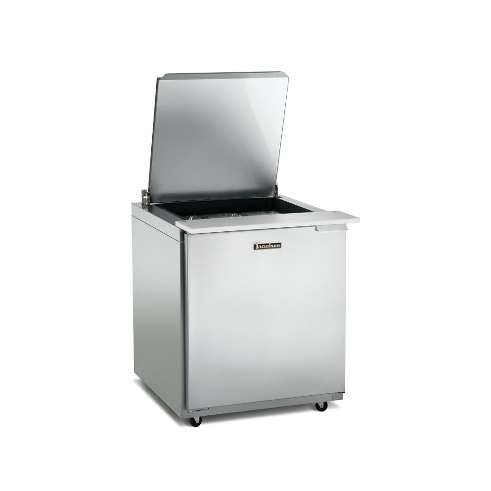 Traulsen UST328-R-SB 32 inch 8 Pan Sandwich / Salad Prep Table with Right Hinged Door and Stainless Steel Back