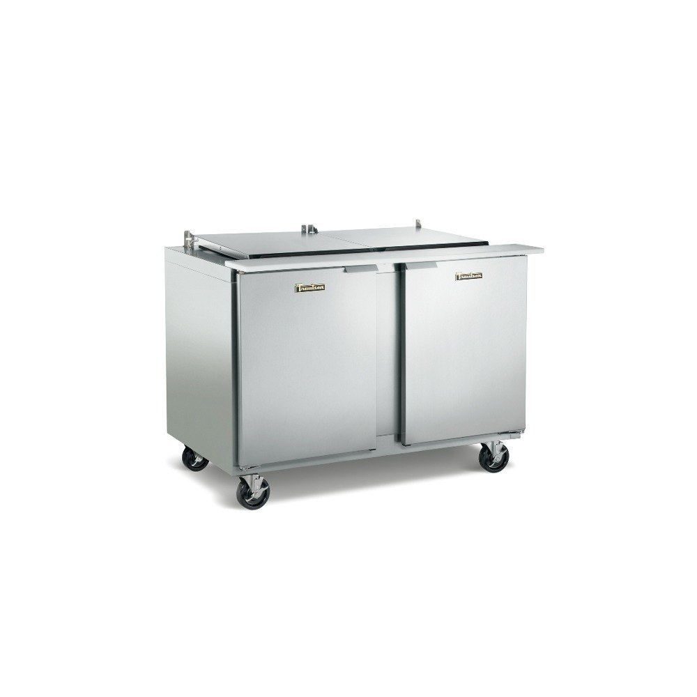 "Traulsen UST7212-LL-SB 72"" Sandwich / Salad Prep Table with Left / Left Hinged Doors and Stainless Steel Back"