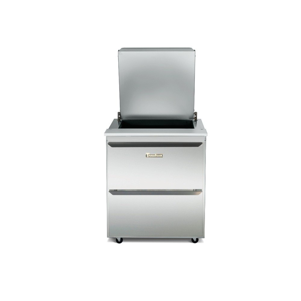 Traulsen UST3212-D-SB 32 inch 12 Pan Sandwich / Salad Prep Table with 2 Drawers and Stainless Steel Back