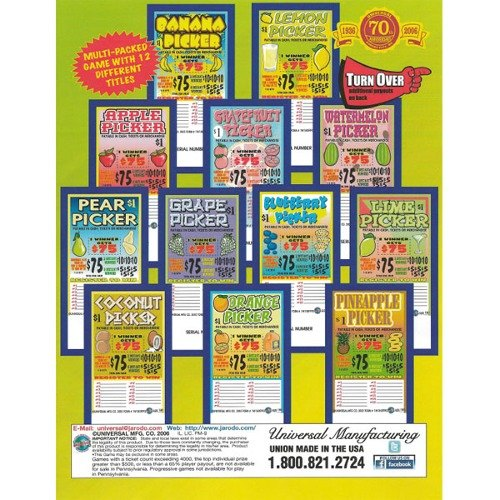 """""""Fruit Picker"""" 1 Window Pull Tab Tickets - 180 Tickets Per Deal - Total Payout: $130 at Sears.com"""