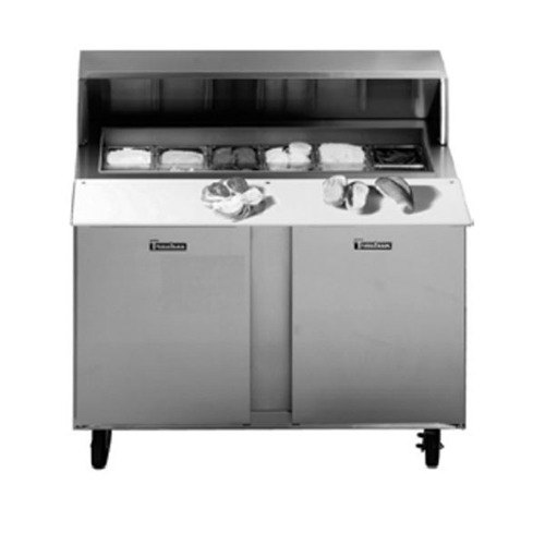 "Traulsen UPT7218-LL-SB 72"" Sandwich / Salad Prep Table with Left / Left Hinged Doors and Stainless Steel Back"