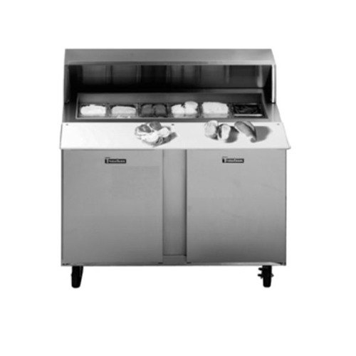 "Traulsen UPT488-LL-SB 48"" Sandwich / Salad Prep Table with Left / Left Hinged Doors and Stainless Steel Back"