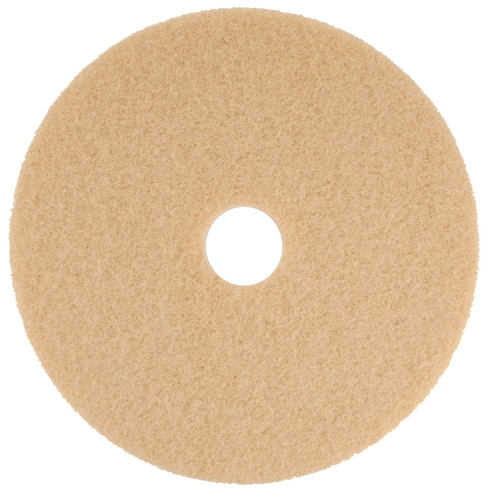 "Scrubble by ACS 34-20 20"" Tan Buffing Floor Pad - Type 34 - 5/Case"