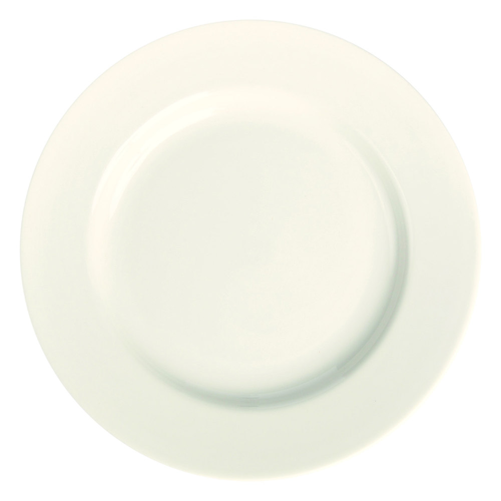 "Homer Laughlin 20800 11 1/8"" Ivory (American White) Rolled Edge China Plate - 12/Case"