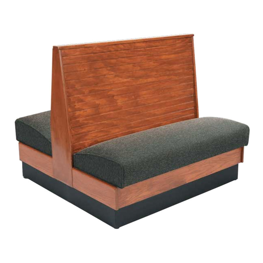 "American Tables & Seating AD48-WBB-SS Bead Board Back Standard Seat Double Wood Booth - 48"" High"