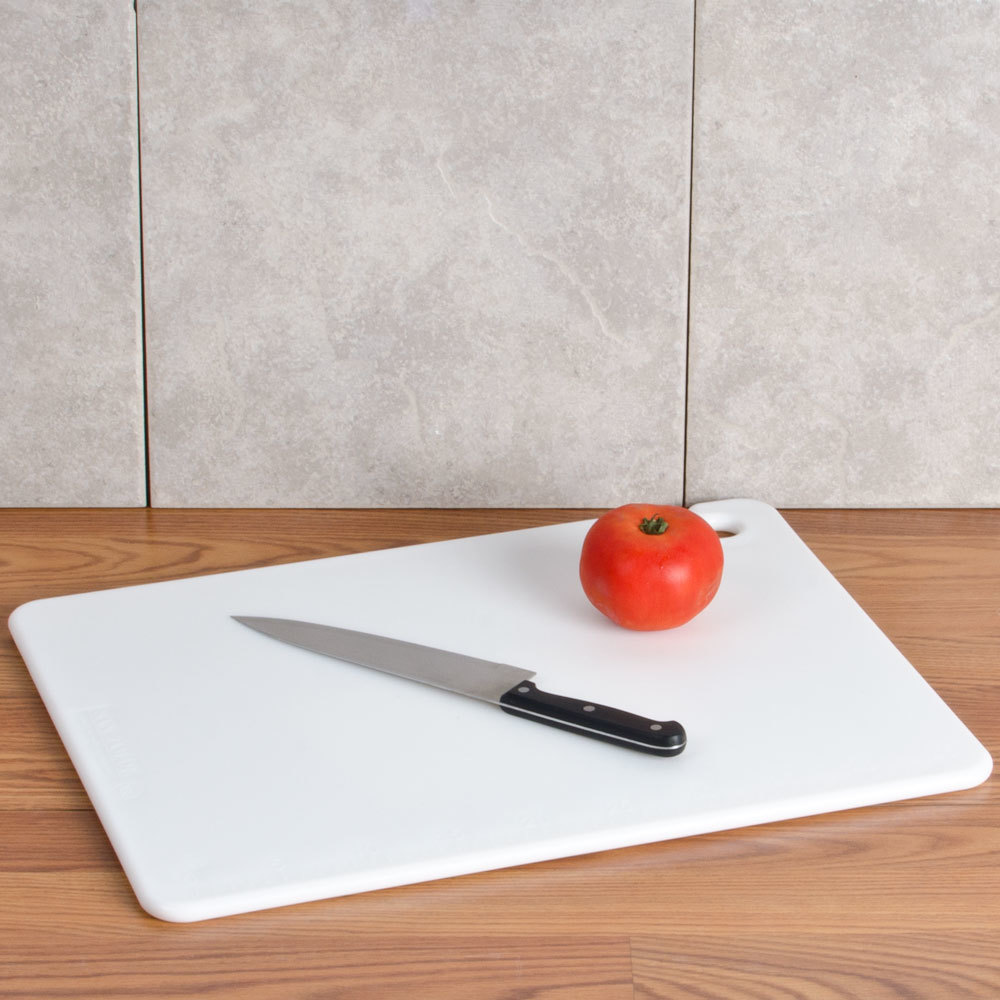 "San Jamar CB152012WH White 15"" x 20"" x 1/2"" Cut-N-Carry Cutting Board with Hook"