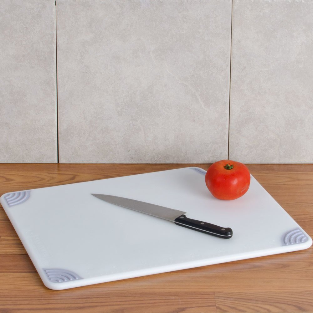 "San Jamar CBG152012WH 15"" x 20"" x 1/2"" Saf-T-Grip White Cutting Board with Hook"