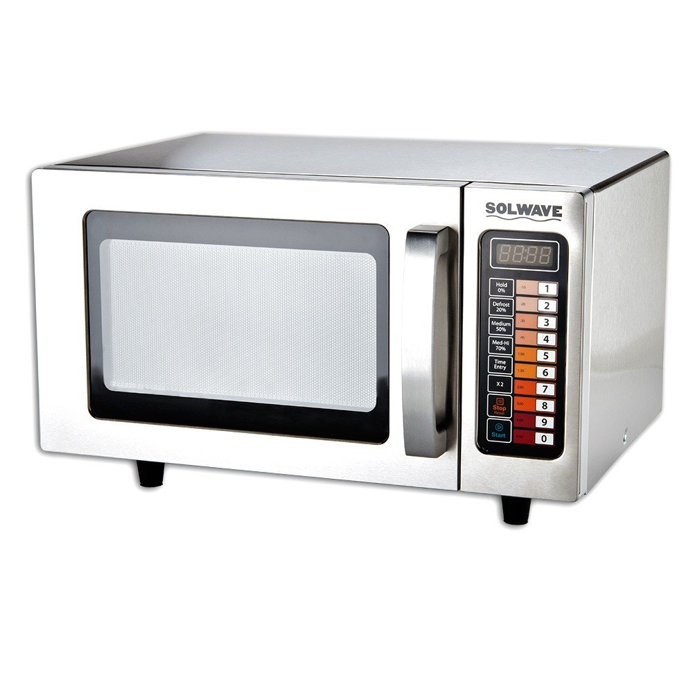 Solwave MW1000SS Stainless Steel 1000 Watt Commercial Microwave with Push Button Controls - 120V