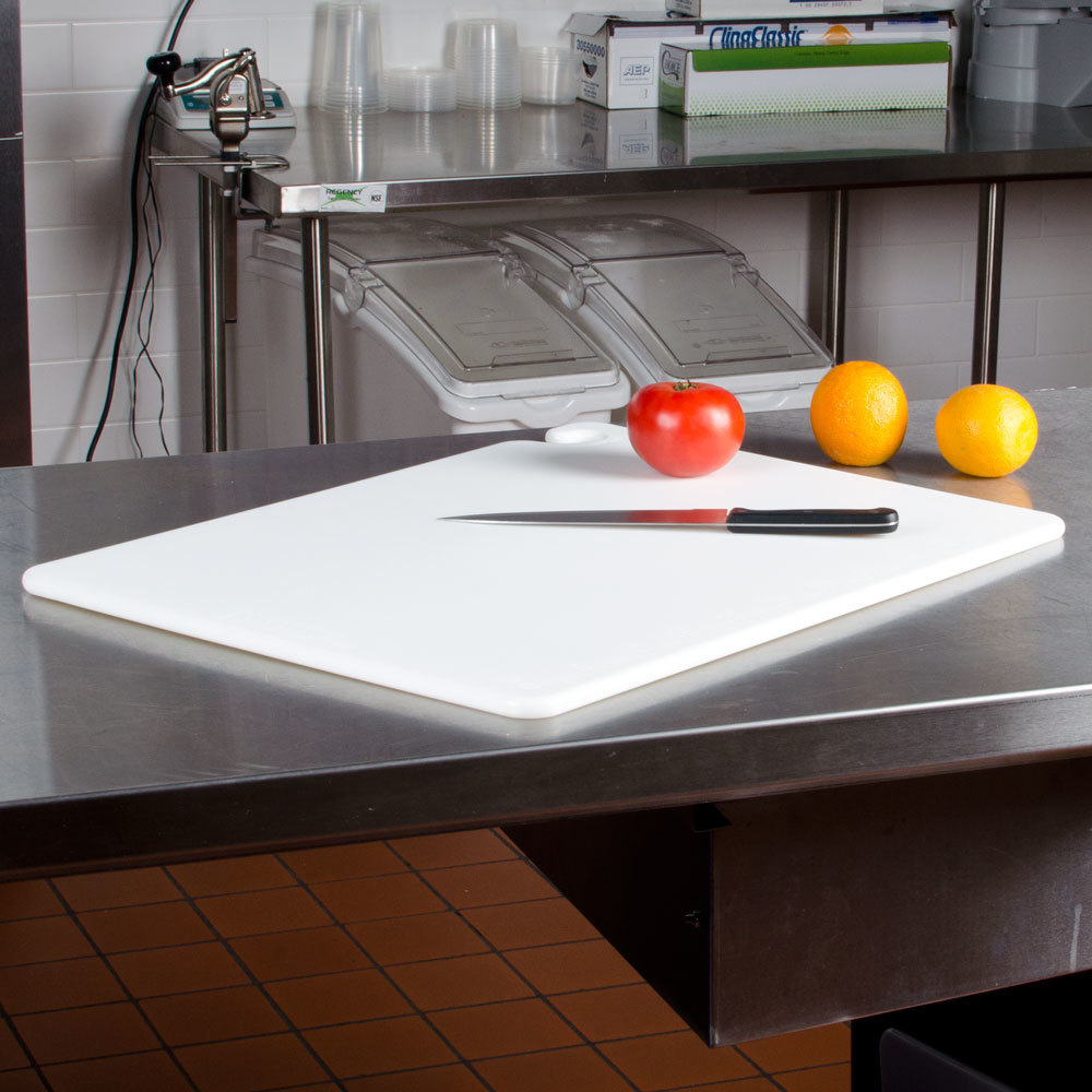 "San Jamar CB182434WH White 18"" x 24"" x 3/4"" Cut-N-Carry Cutting Board with Hook"