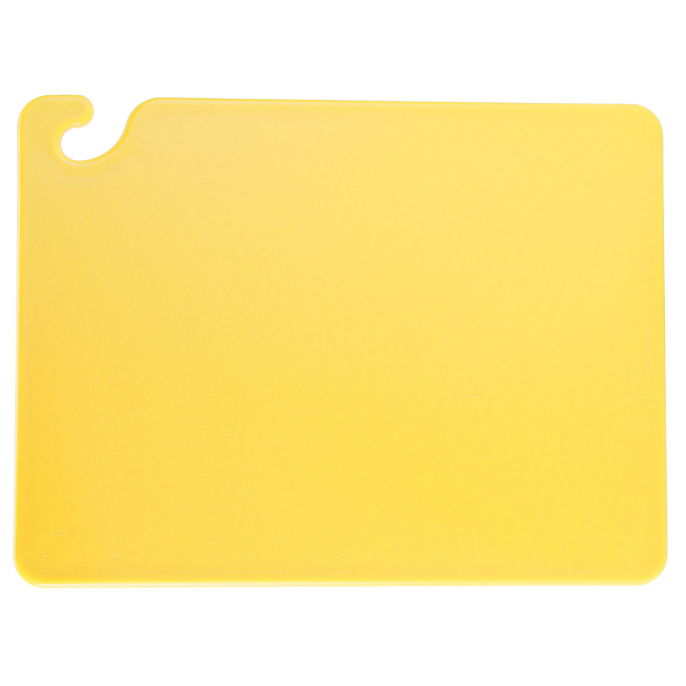 "San Jamar CB152012YL Yellow 15"" x 20"" x 1/2"" Cut-N-Carry Cutting Board with Hook"