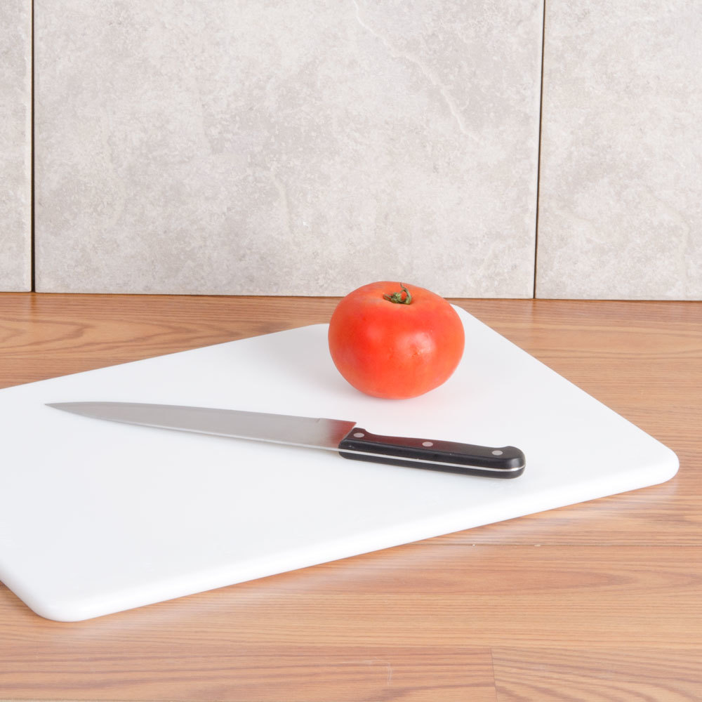 "San Jamar CB121834WH White 12"" x 18"" x 3/4"" Cut-N-Carry Cutting Board with Hook"