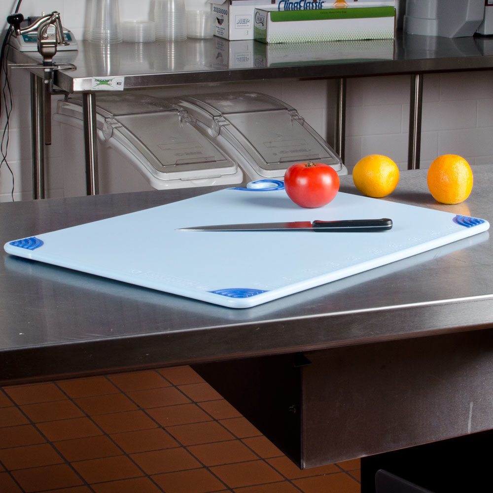 "San Jamar CBG182412BL 18"" x 24"" x 1/2"" Saf-T-Grip Blue Cutting Board with Hook"