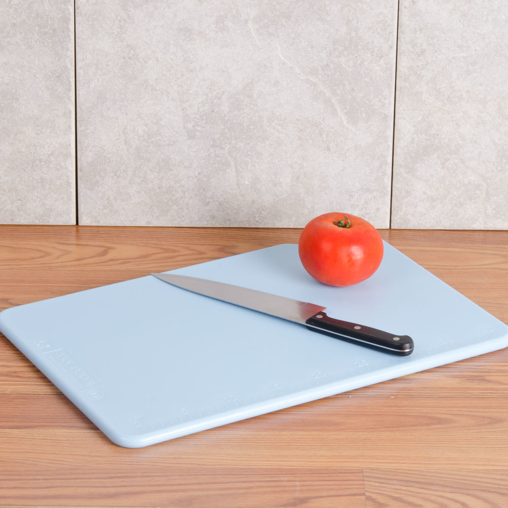 "San Jamar CB121834BL Blue 12"" x 18"" x 3/4"" Cut-N-Carry Cutting Board with Hook"