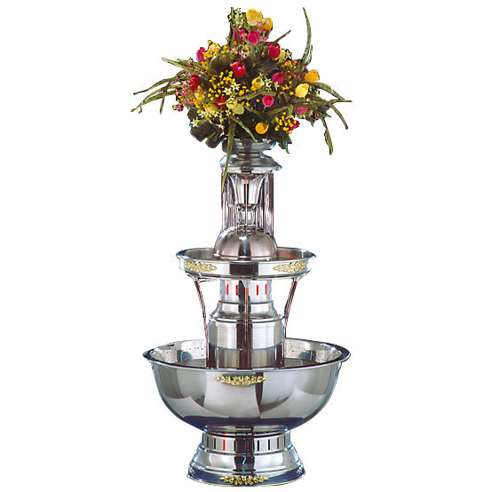 Apex 4008-GT Royal Princess 5 Gallon 3 Tier SS Beverage Fountain with Inflow Spigots, Gold Bow Tie Trim, & Waterfall Set
