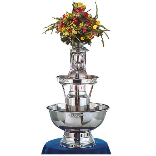 Apex 4008-GT Royal Princess 5 Gallon 3 Tier SS Beverage Fountain with Inflow Spigots, Gold Bow Tie Trim, & Waterfall Set at Sears.com