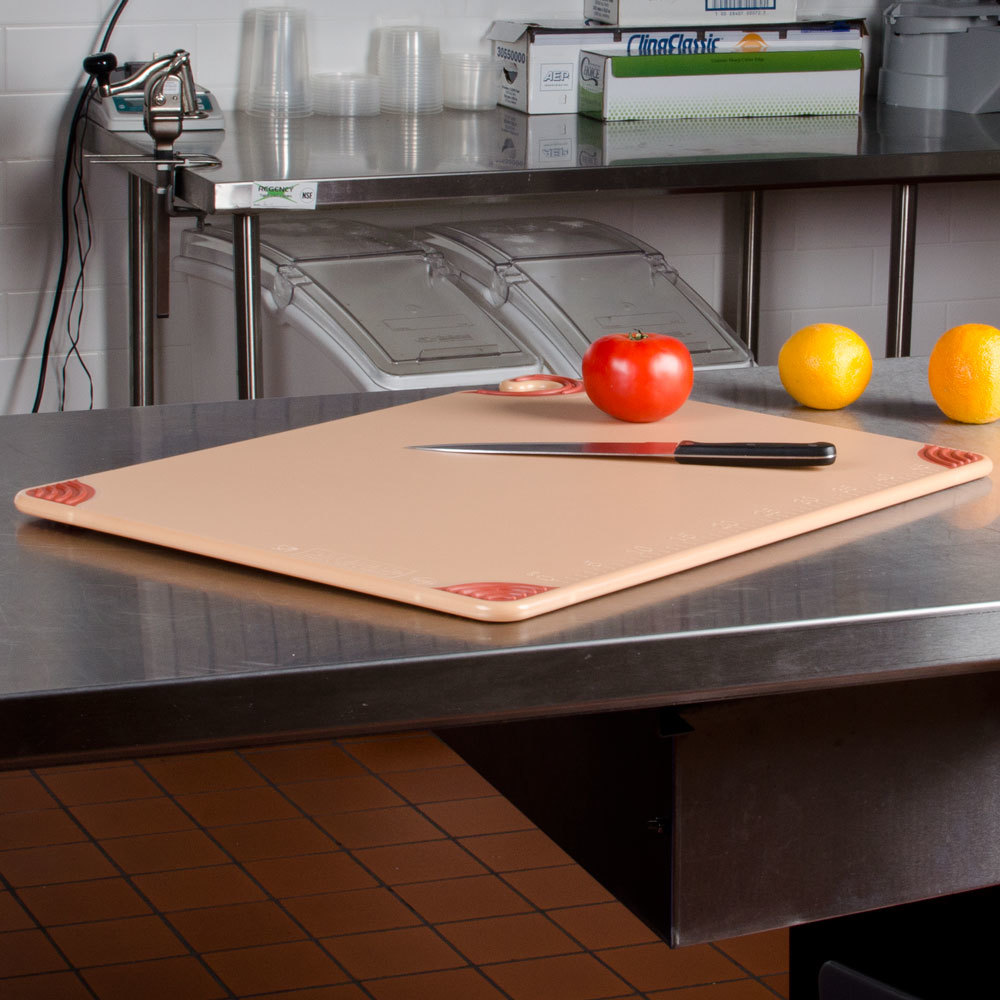 "San Jamar CBG182412BR 18"" x 24"" x 1/2"" Saf-T-Grip Brown Cutting Board with Hook"