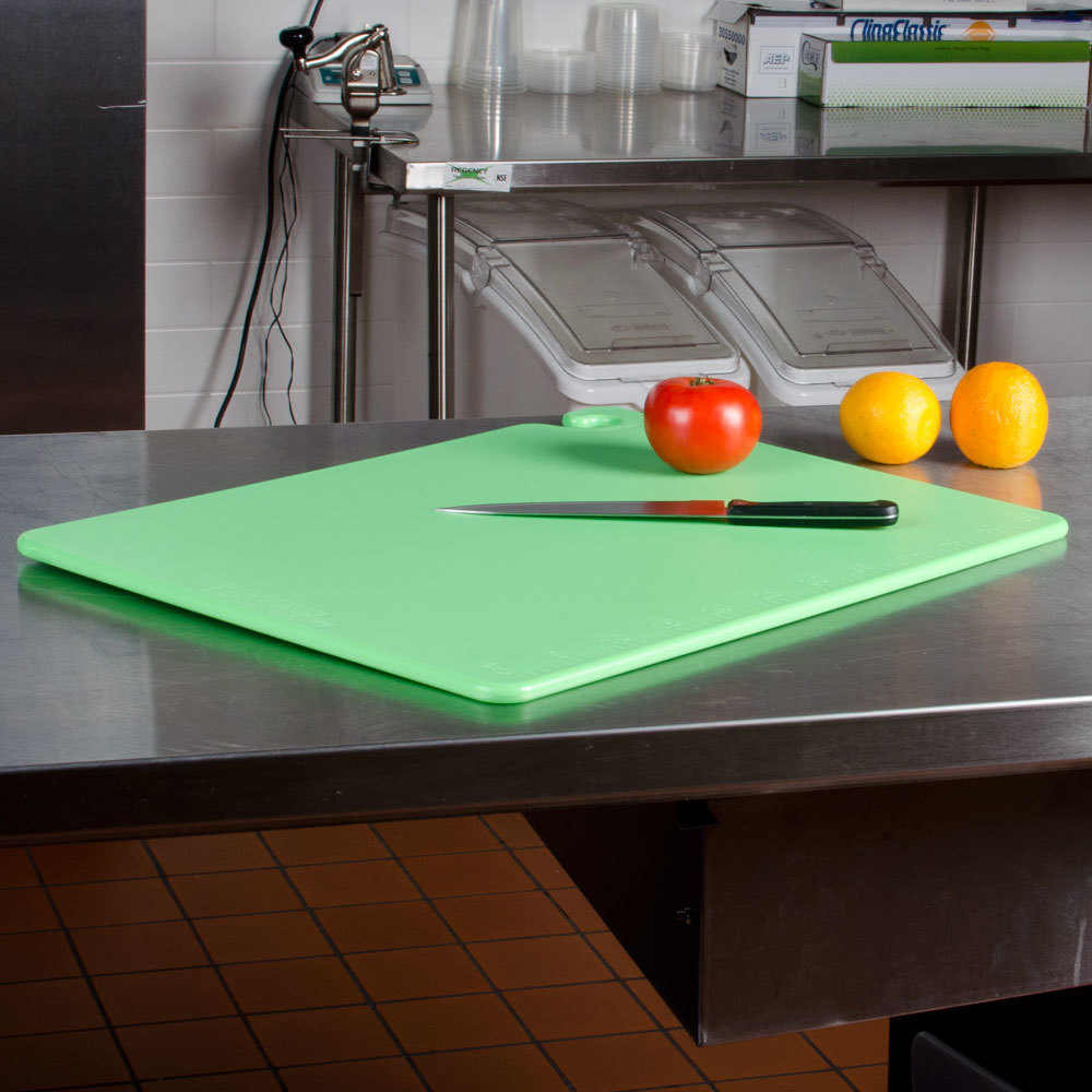 "San Jamar CB182434GN Green 18"" x 24"" x 3/4"" Cut-N-Carry Cutting Board with Hook"