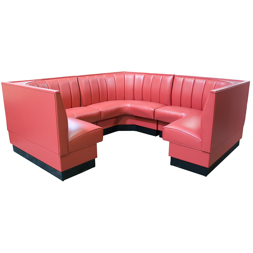"American Tables & Seating AS-4812-3/4 12 Channel Back Upholstered Corner Booth 3/4 Circle - 48"" High"