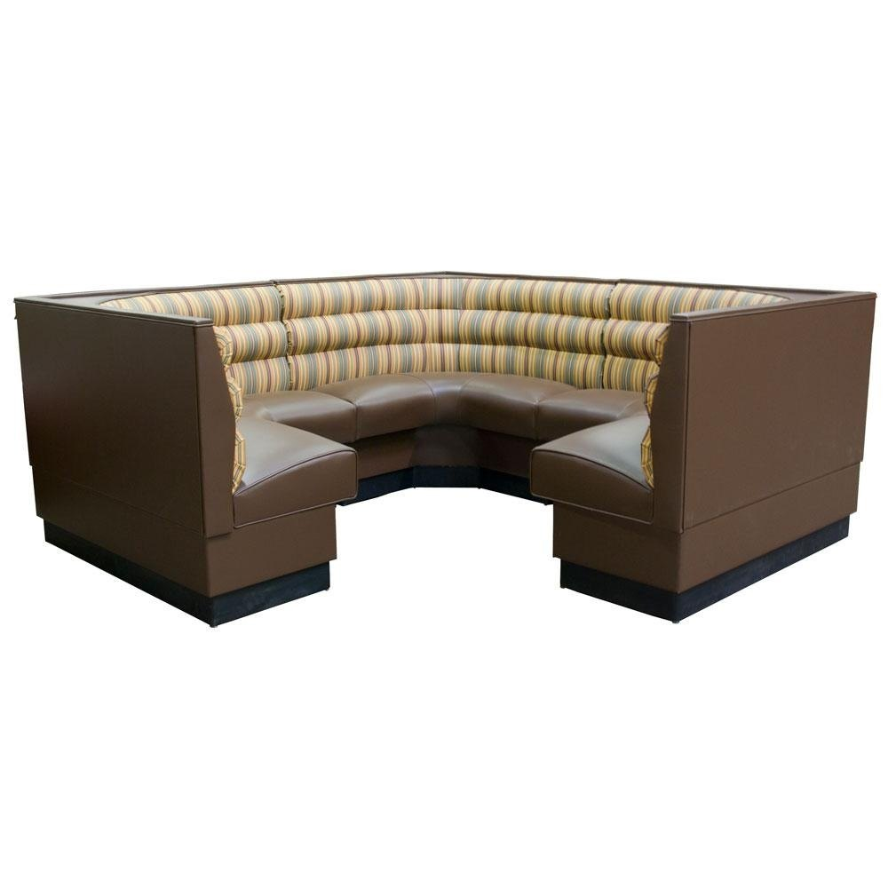 "American Tables & Seating AS-48HO-3/4 3/4 Circle Horizontal Channel Back Corner Booth - 48"" High"