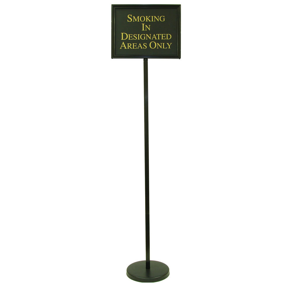 "Aarco Black Aluminum 59"" Changeable Hostess / Teller Sign with 12 Messages"