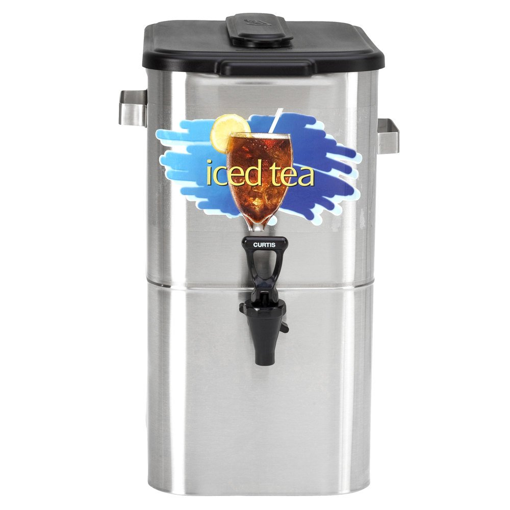 "Curtis TCO417A000 4 Gallon 17"" Stainless Steel Oval Iced Tea Dispenser with Plastic Lid"