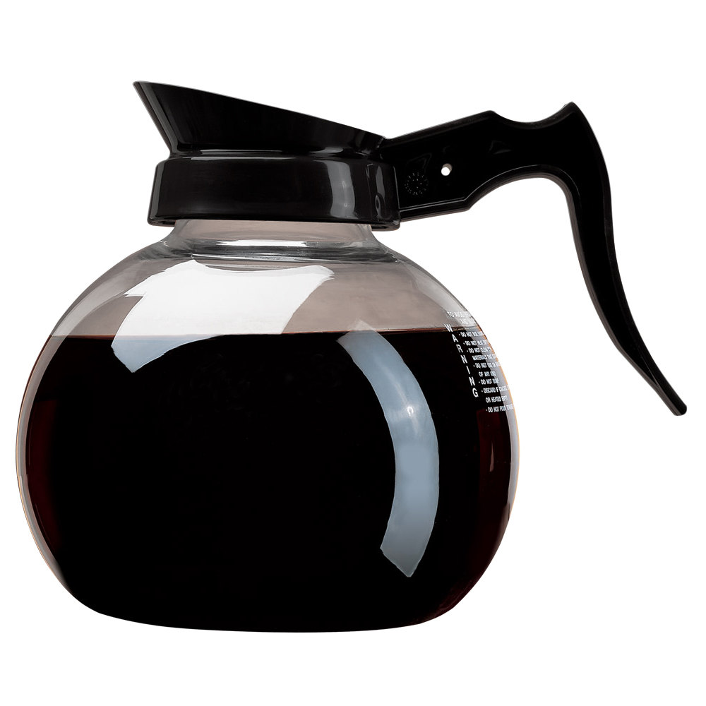 Curtis 70280100303 Glass Coffee Decanter with Black Handle and Printed Instructions - 3/Case