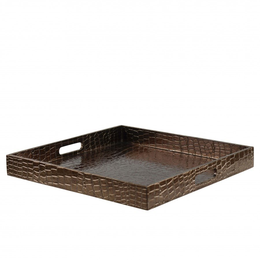 "10 Strawberry Street GATR-BRNSQ 15"" Brown Square Gator Room Service Tray with Handles"