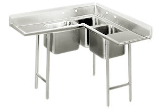 Advance Tabco 94-K3-11D Three Compartment Corner Sink with Two