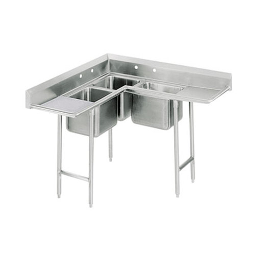 Advance Tabco 94-K3-11D Three Compartment Corner Sink with Two Drainboards - 108""