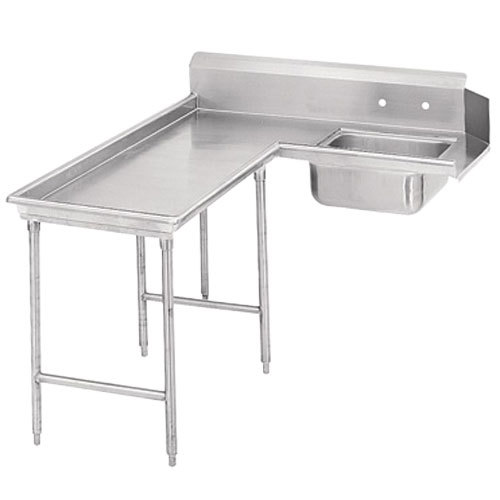 Advance Tabco DTS-G30-72 6' Spec Line Stainless Steel Soil L-Shape Dishtable