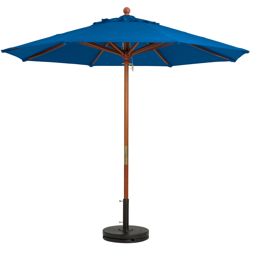 "Grosfillex 98919731 9' Pacific Blue Market Umbrella with 1 1/2"" Wooden Pole"