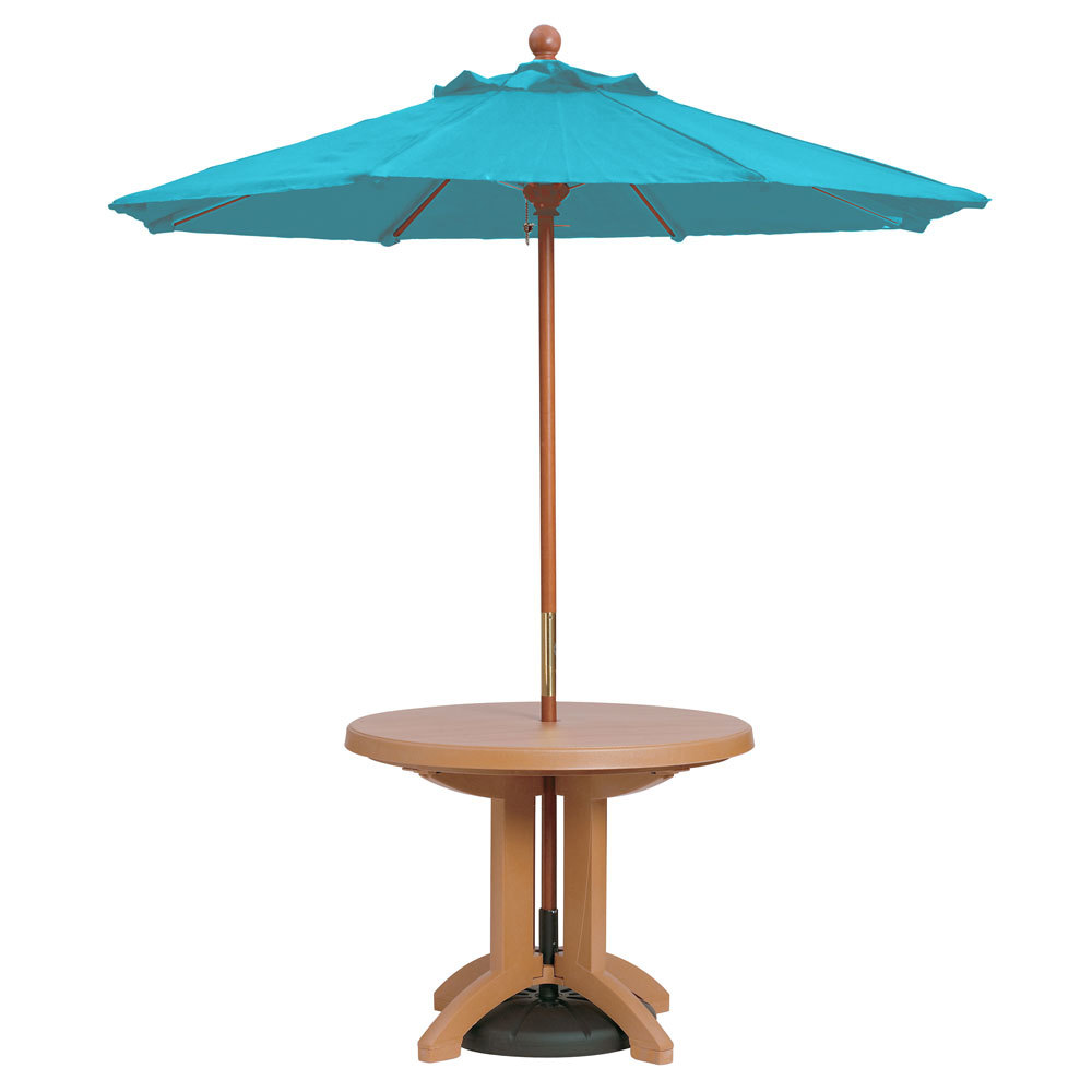"Grosfillex 98943131 7' Turquoise Market Umbrella with 1 1/2"" Wooden Pole"