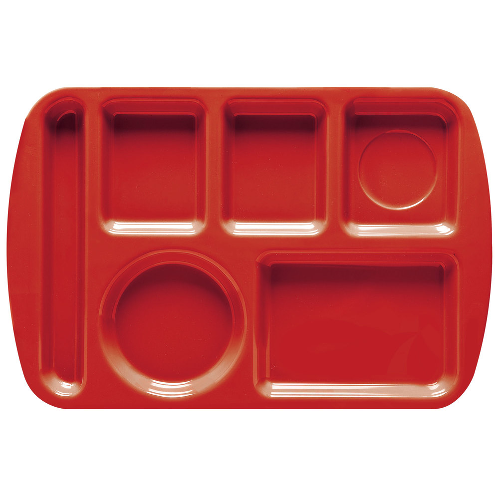 "GET TL-151 Red Melamine 9 1/2"" x 14 3/4"" Left Hand 6 Compartment Tray - 12/Pack"