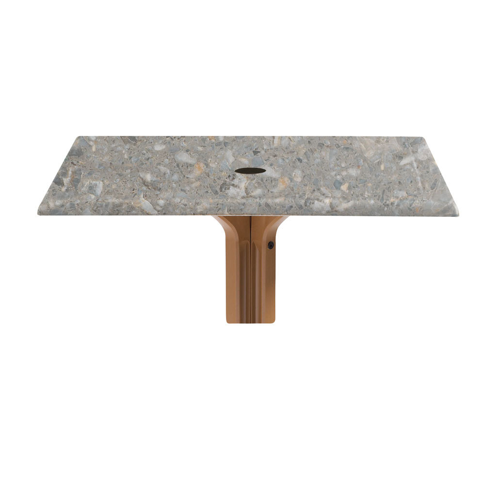 """Grosfillex 99872002 36"""" x 36"""" Square Molded Melamine Outdoor Table Top with Umbrella Hole - Tokyo Stone at Sears.com"""